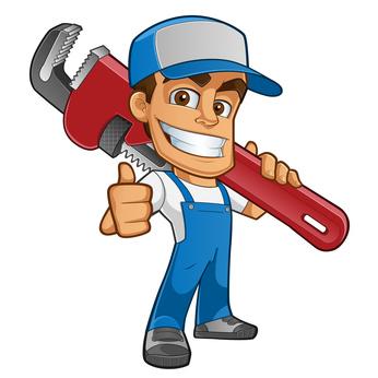 Fontanero con ropa de trabajo llevando una herramienta