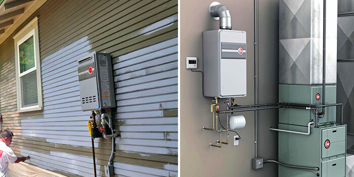 tankless water heater outside installation