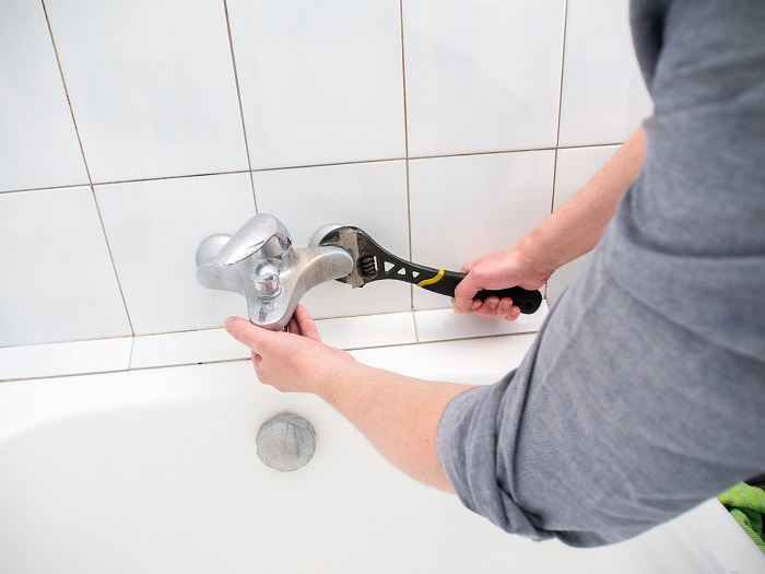 a worker during bathroom renovation