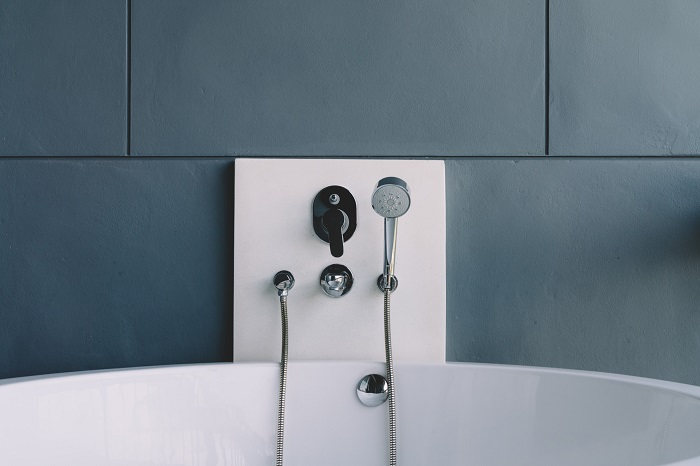 modern bathroom with hot water system